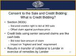 consent to the sale and credit bidding what is credit bidding
