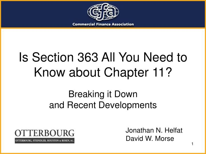 is section 363 all you need to know about chapter 11 n.
