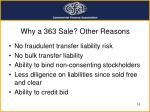 why a 363 sale other reasons
