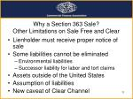 why a section 363 sale other limitations on sale free and clear