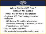 why a section 363 sale reason 1 speed