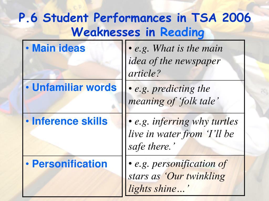 P.6 Student Performances in TSA 2006