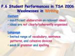 p 6 student performances in tsa 2006 weaknesses in writing