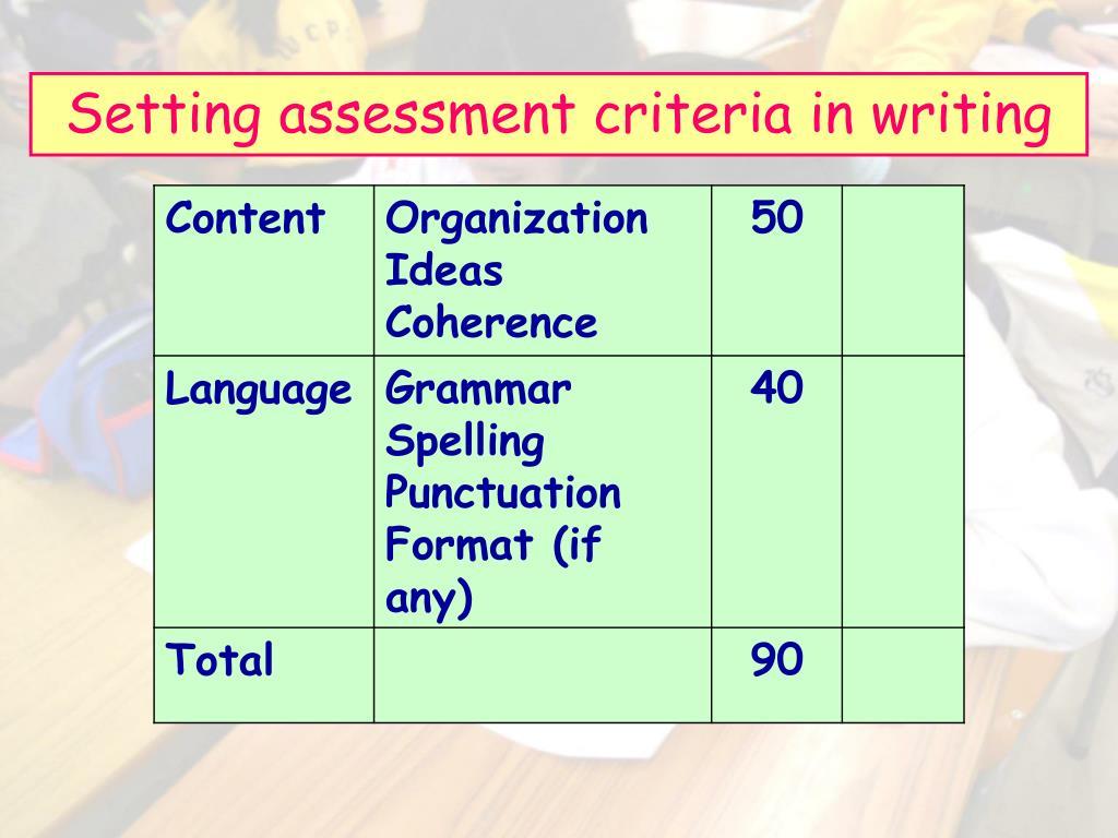 Setting assessment criteria in writing