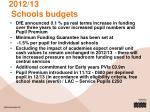 2012 13 schools budgets