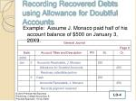 recording recovered debts using allowance for doubtful accounts