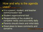 how and why is the agenda used