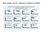 also weak results relative to latent variable