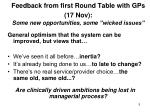 feedback from first round table with gps 17 nov some new opportunities some wicked issues