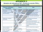 apendice 2 ejemplos de indicadores dhi evaluaci n escolar pisa y encuesta dom stica dhs