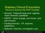 diabetes clinical encounters review of systems my ehr template