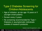 type 2 diabetes screening for children adolescents
