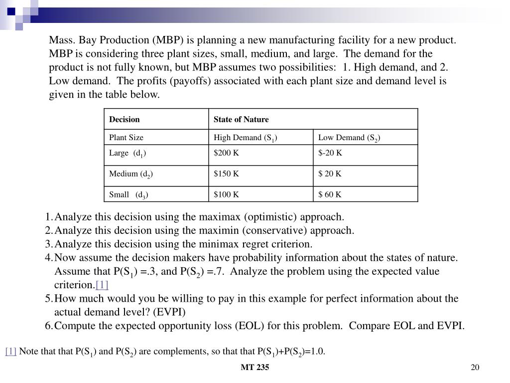 Mass. Bay Production (MBP) is planning a new manufacturing facility for a new product.  MBP is considering three plant sizes, small, medium, and large.  The demand for the product is not fully known, but MBP assumes two possibilities:  1. High demand, and 2. Low demand.  The profits (payoffs) associated with each plant size and demand level is given in the table below.