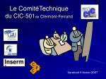 le comit technique du cic 501 de clermont ferrand