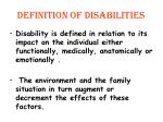 definition of disabilities