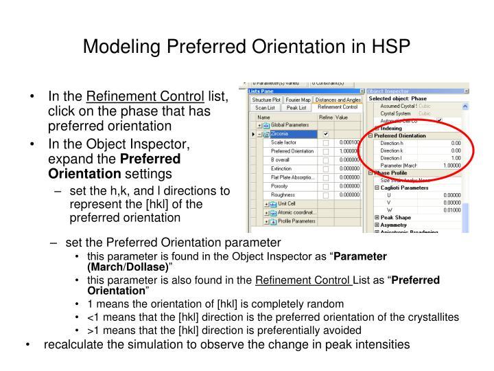 Modeling Preferred Orientation in HSP