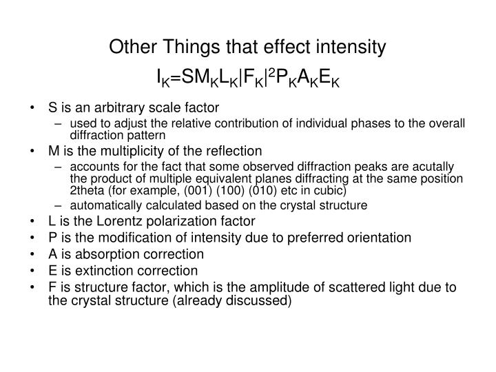 Other Things that effect intensity