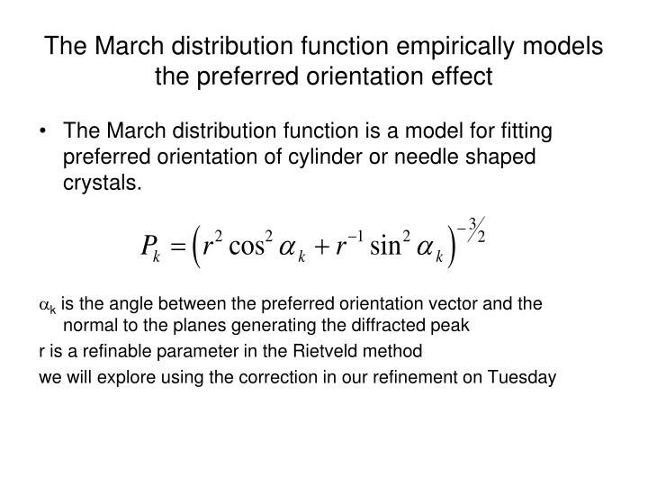 The March distribution function empirically models the preferred orientation effect