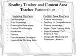 reading teacher and content area teacher partnerships