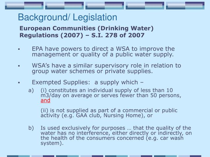 Background/ Legislation
