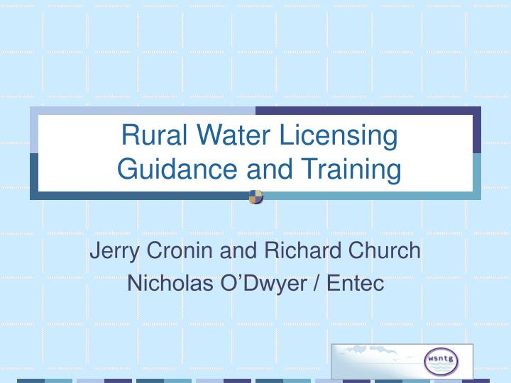 Rural water licensing guidance and training