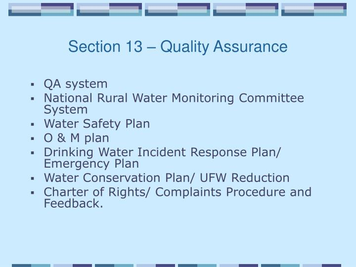 Section 13 – Quality Assurance