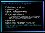 icm lecture topics legalities