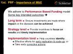 1 a pbf importance of m e