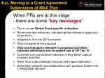 4 a moving to a grant agreement submission of m e plan