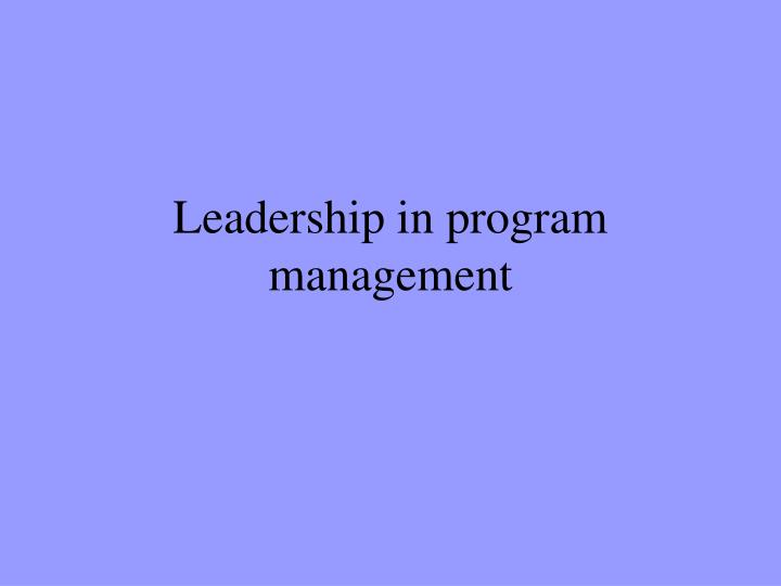 leadership in program management n.