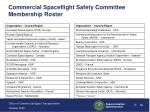commercial spaceflight safety committee membership roster
