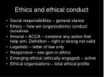 ethics and ethical conduct