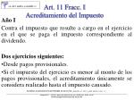 art 11 fracc i acreditamiento del impuesto