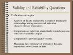 validity and reliability questions