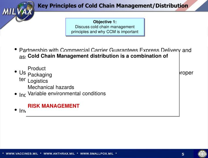 Key Principles of Cold Chain Management/Distribution