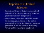 importance of feature selection
