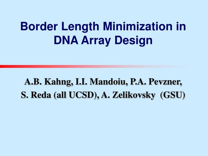 border length minimization in dna array design n.