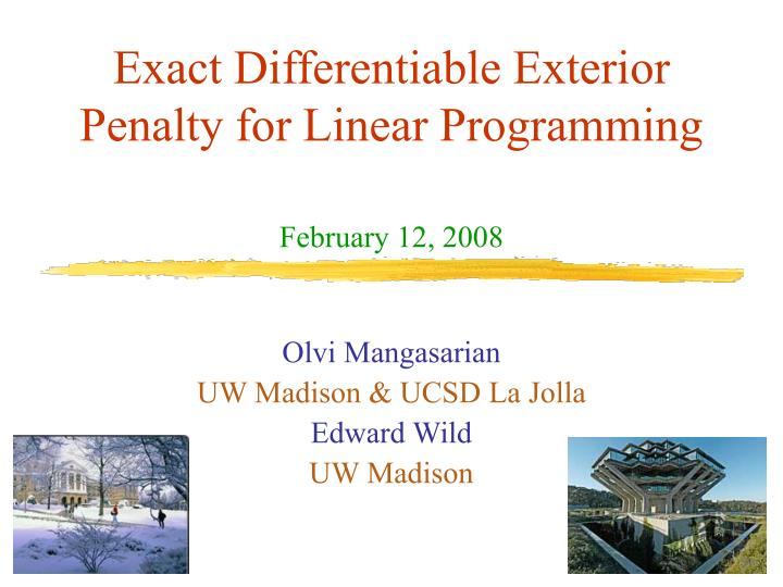 exact differentiable exterior penalty for linear programming n.