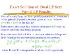 exact solution of dual lp from primal lp penalty