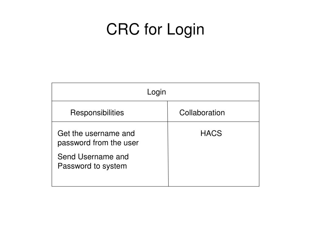 CRC for Login