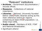 relevant institutions