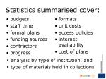 statistics summarised cover