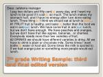 7 th grade writing sample third and final edited version