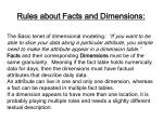 rules about facts and dimensions