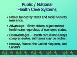 public national health care systems