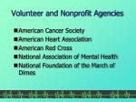 volunteer and nonprofit agencies