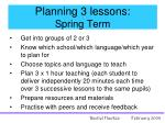 planning 3 lessons spring term