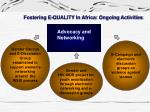fostering e quality in africa ongoing activities