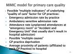 mimic model for primary care quality