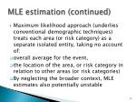 mle estimation continued